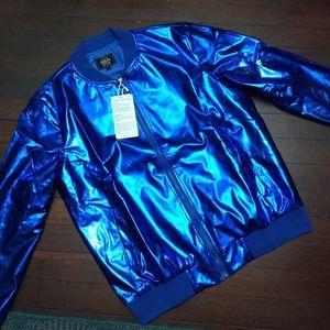 METALLIC BLUE JACKET - NEW Shiny Rave Party Disco